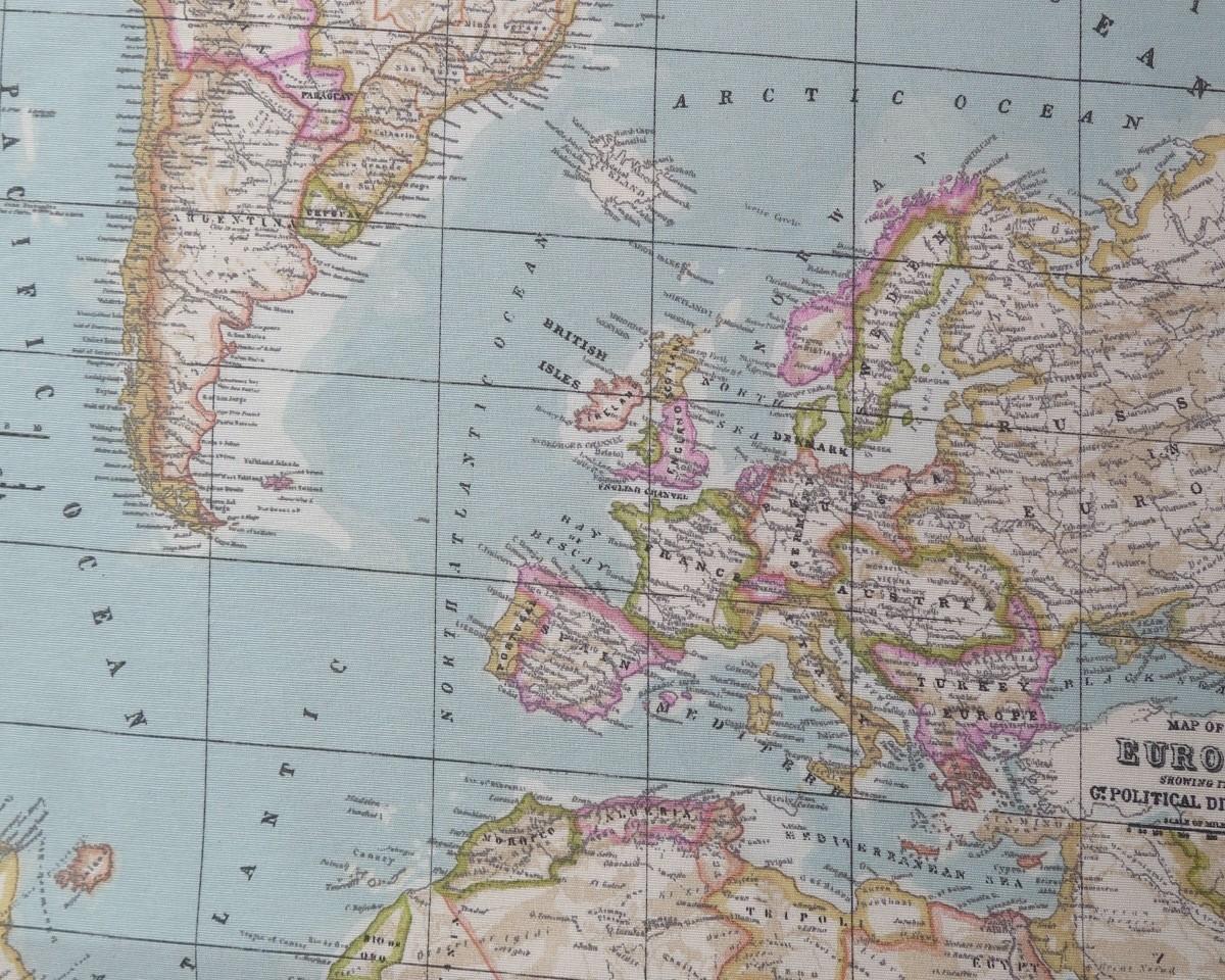 Tela Mapa Mundi En Color Azul Celeste