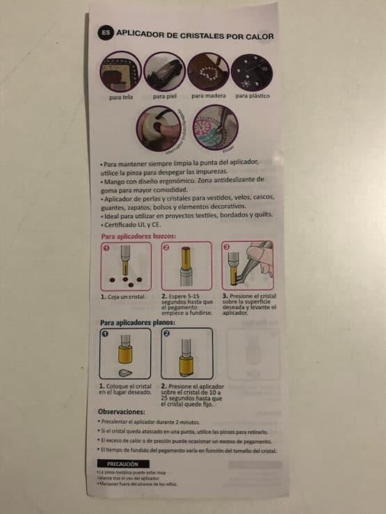 herramienta para pegar cristales tipo strass