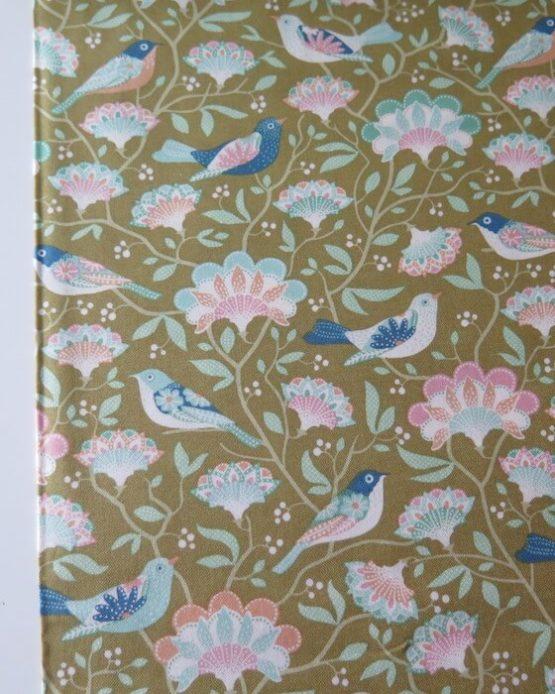 tela estampada tilda pájaros verde