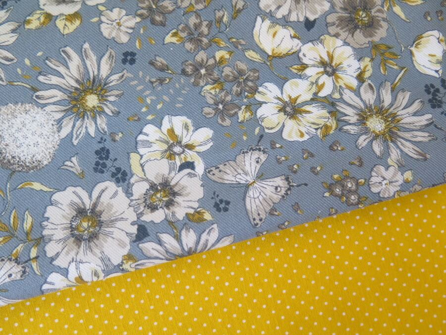 tela viyela flores azules