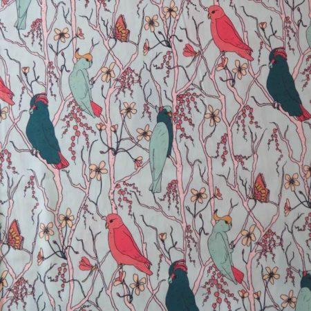 tela estampada pájaros