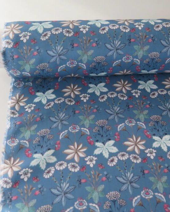tela viscosa flores azul leo