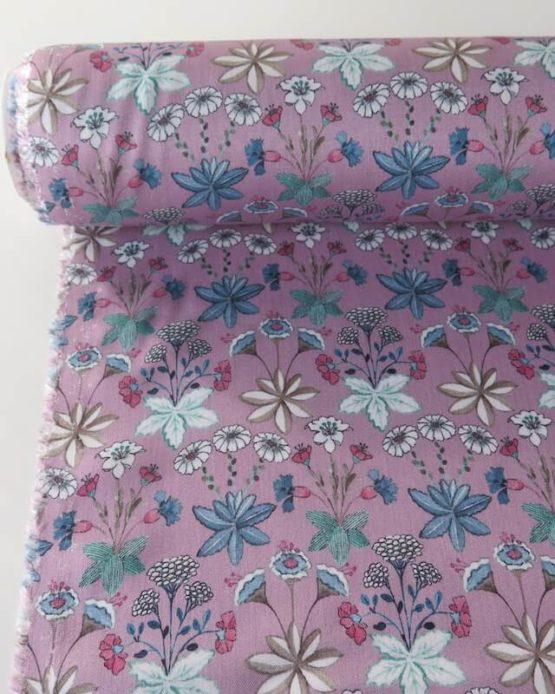 tela viscosa flores rosa leo