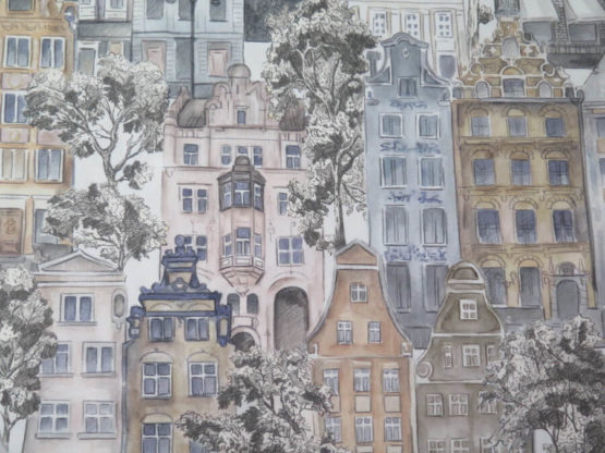 tela loneta estampada casas