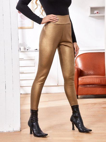 pantalones de moda pitillo metalizados