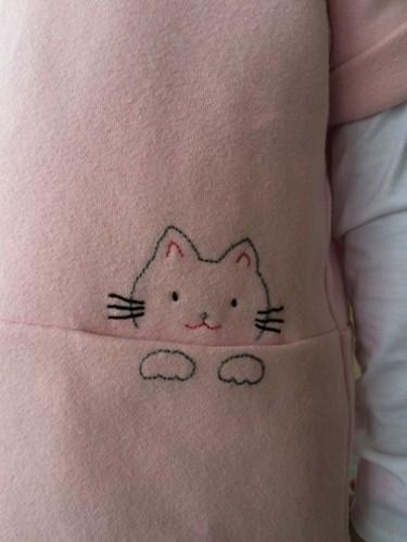 Dulce gatito para bordado de bolsillo