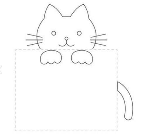 Patrón de gatito para bordar en bolsillo