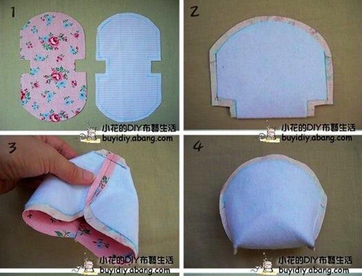 Pasos 1 al 4 para hacer un monedero de tela