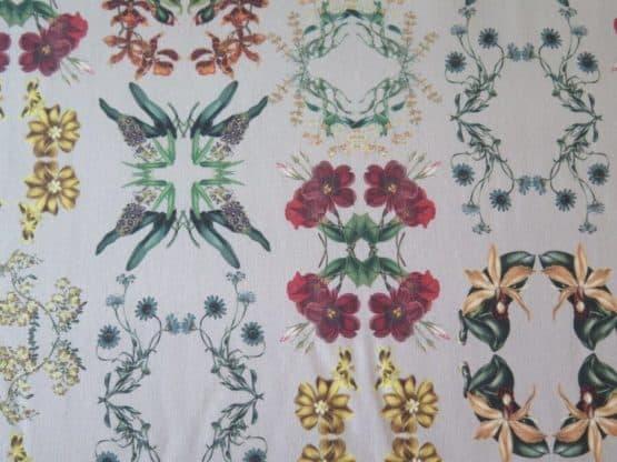 tela loneta tapiceria flores