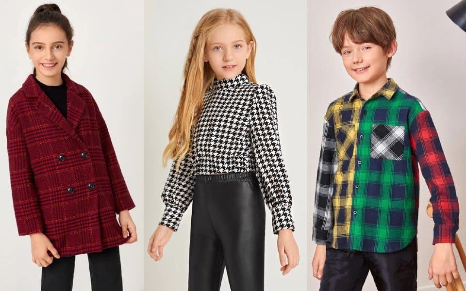 moda infantil otoño invierno: cuadros para niños y niñas