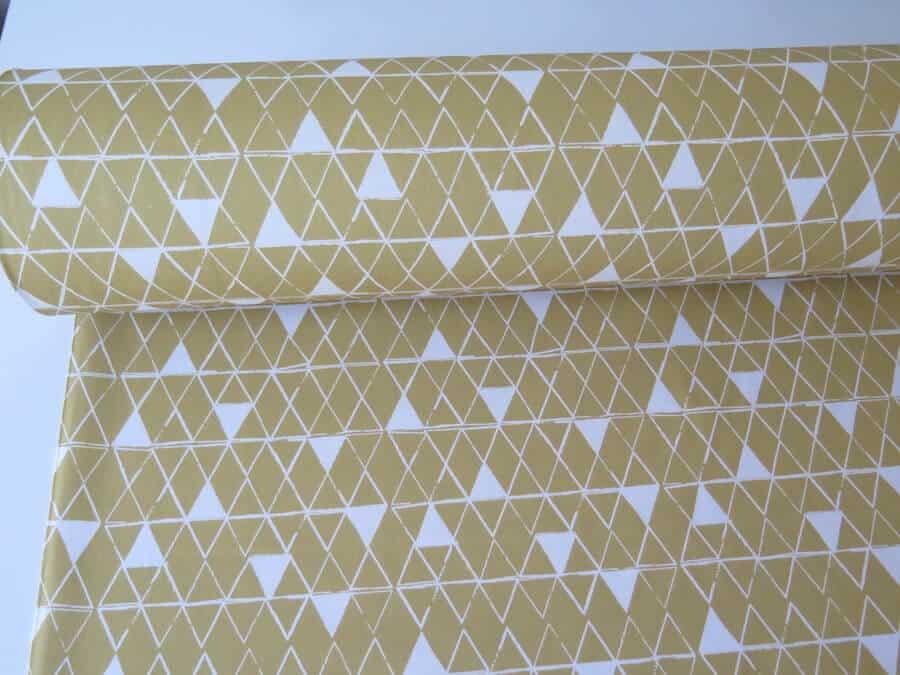 tela loneta geometrica amarilla