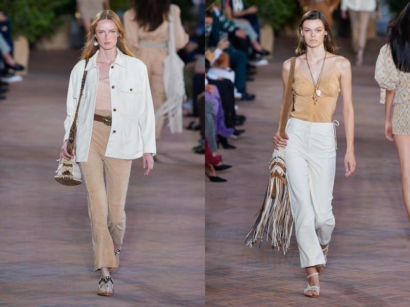 Combinación de beige o camel con blanco